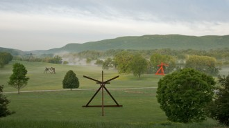 Mark di Suvero sculptures in the South Field at the Storm King Art Center