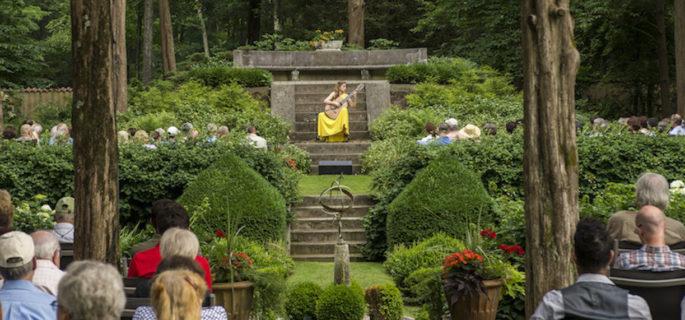 Ana Vidovic performs at Caramoor's Sunken Garden in 2013  (photo courtesy of Gabe Palacio)